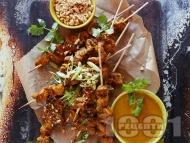 Рецепта Азиатски мариновани свински шишчета на скара с чесън, джинджифил и куркума